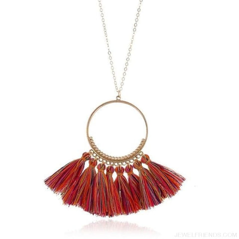 Tassel Circle Chain Long Necklace - Red Colorful - Custom Made | Free Shipping