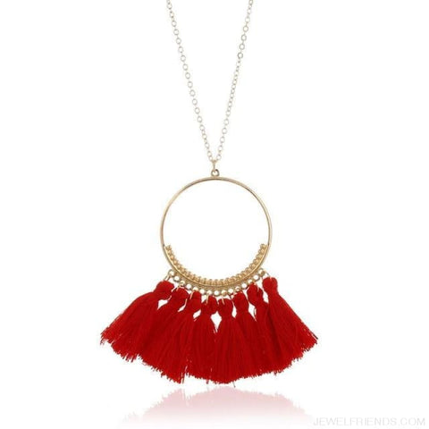 Tassel Circle Chain Long Necklace - Red - Custom Made | Free Shipping