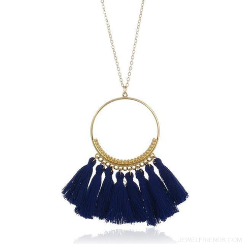 Tassel Circle Chain Long Necklace - Royal Blue - Custom Made | Free Shipping
