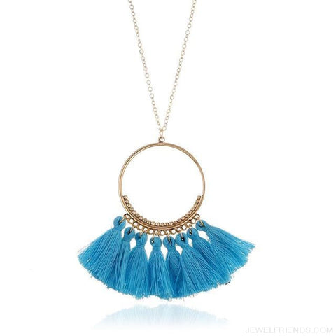Tassel Circle Chain Long Necklace - Sky Blue - Custom Made | Free Shipping