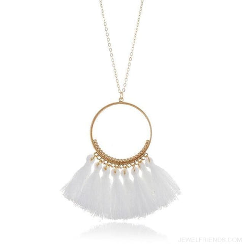 Tassel Circle Chain Long Necklace - White - Custom Made | Free Shipping