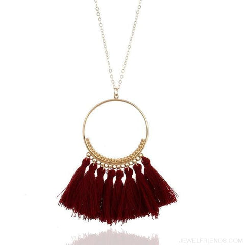 Tassel Circle Chain Long Necklace - Wine Red - Custom Made | Free Shipping