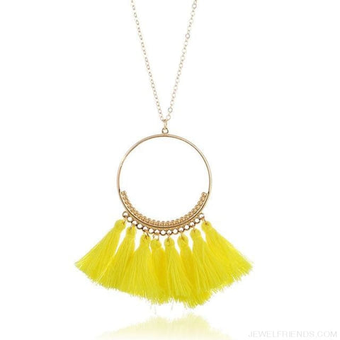 Tassel Circle Chain Long Necklace - Yellow - Custom Made | Free Shipping