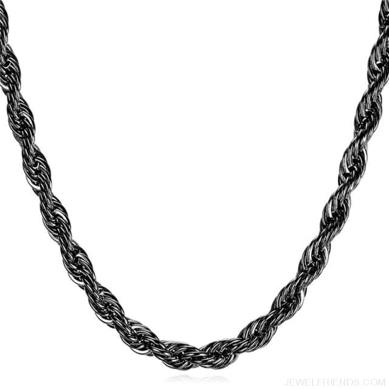 Thick Stainless Steel Hippie Rock Chain Rope Necklace - Black Gun Plated / Width 9Mm / China 55Cm 22Inches - Custom Made | Free Shipping