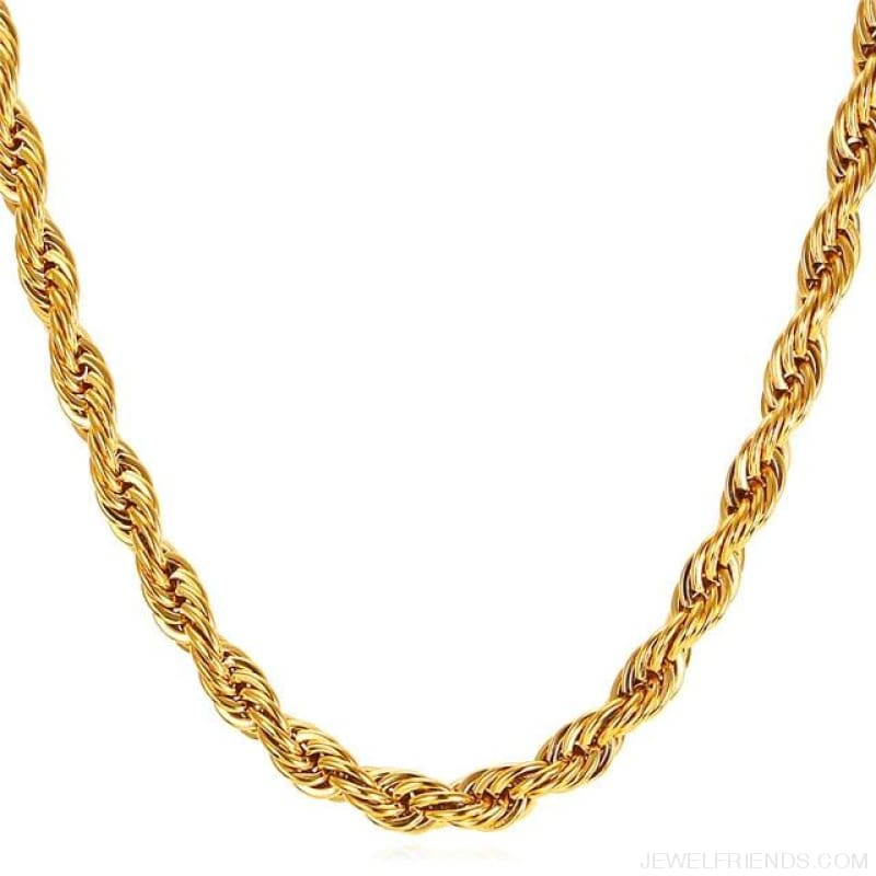 Thick Stainless Steel Hippie Rock Chain Rope Necklace - Gold-Color / Width 9Mm / China 55Cm 22Inches - Custom Made | Free Shipping