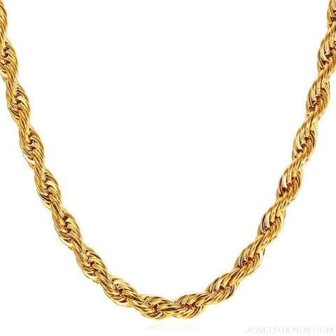 Image of Thick Stainless Steel Hippie Rock Chain Rope Necklace - Gold-Color / Width 9Mm / China 55Cm 22Inches - Custom Made | Free Shipping