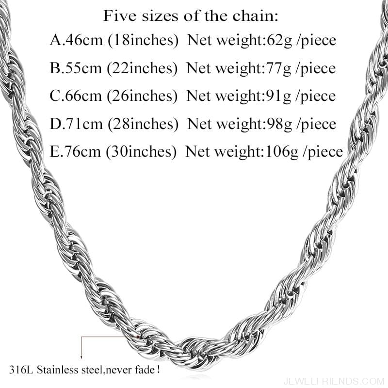 Thick Stainless Steel Hippie Rock Chain Rope Necklace - Custom Made | Free Shipping