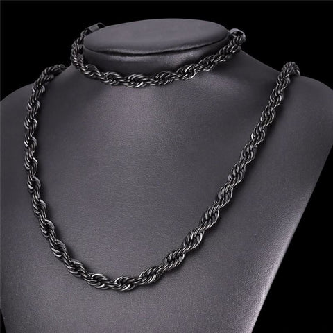 Image of Thick Stainless Steel Hippie Rock Chain Rope Necklace - Custom Made | Free Shipping