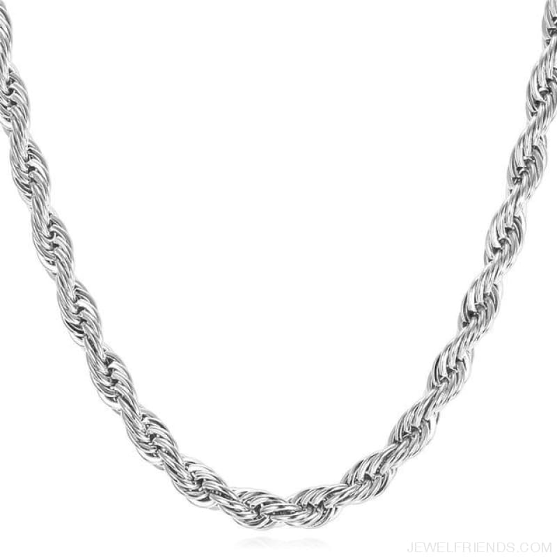 Thick Stainless Steel Hippie Rock Chain Rope Necklace - Stainless Steel / Width 9Mm / China 55Cm 22Inches - Custom Made | Free Shipping