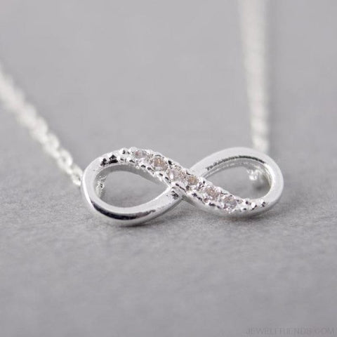 Tiny Infinity Crystal Necklaces - Silver Plated - Custom Made | Free Shipping