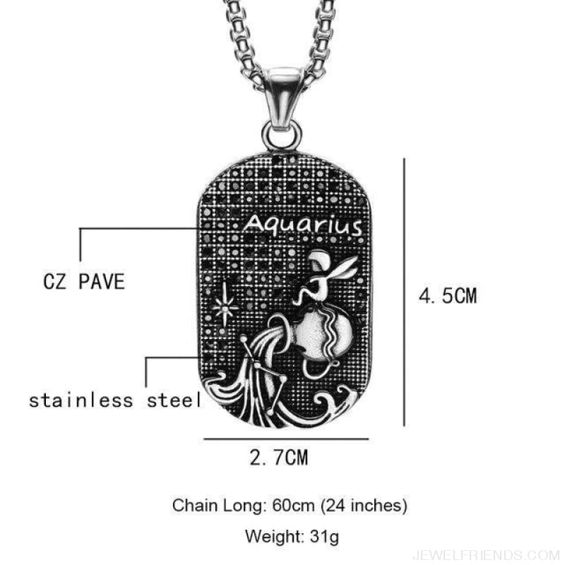 Titanium Stainless Steel Zodiac Signs Amulet Pendants Necklaces - Aquarius - Custom Made | Free Shipping