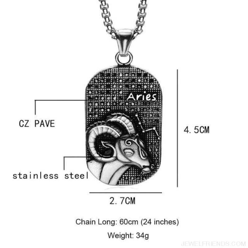 Titanium Stainless Steel Zodiac Signs Amulet Pendants Necklaces - Aries - Custom Made | Free Shipping