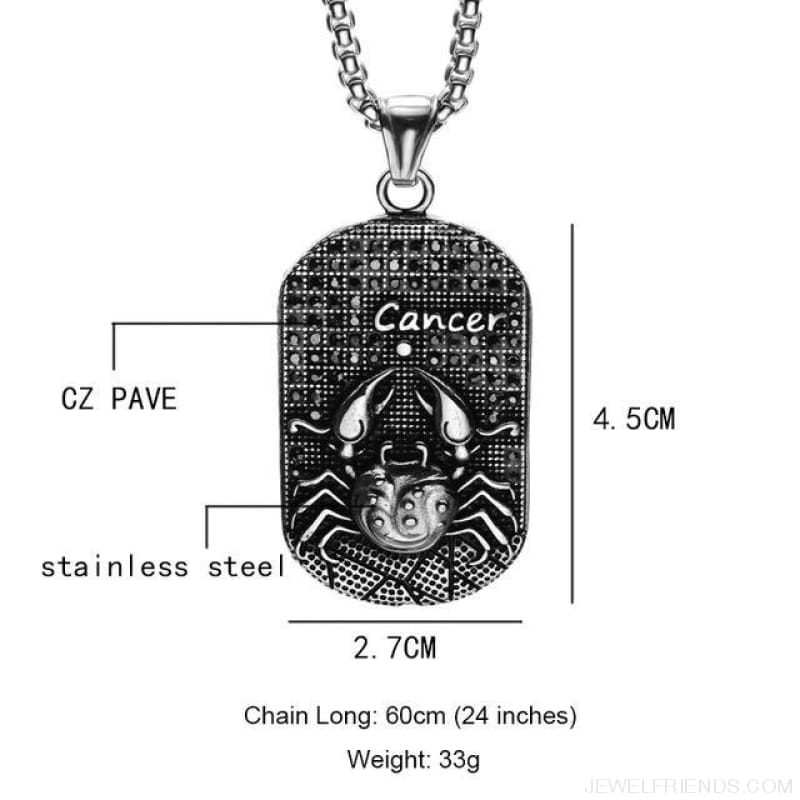 Titanium Stainless Steel Zodiac Signs Amulet Pendants Necklaces - Cancer - Custom Made | Free Shipping