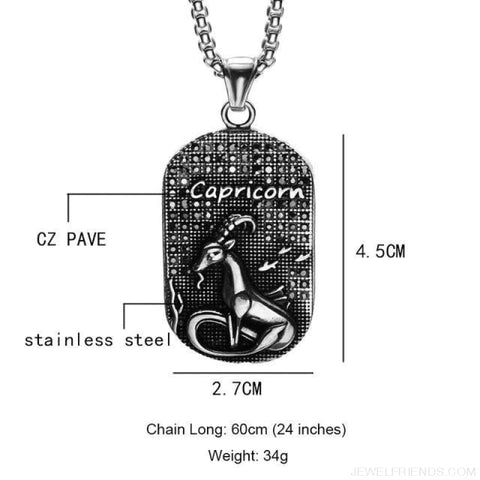 Image of Titanium Stainless Steel Zodiac Signs Amulet Pendants Necklaces - Capricorn - Custom Made | Free Shipping