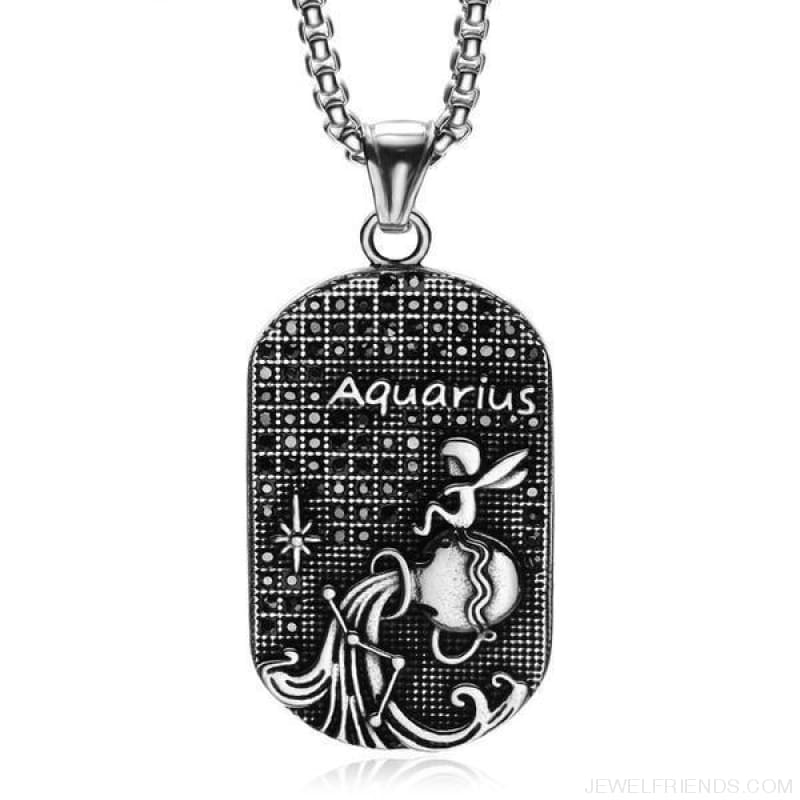 Titanium Stainless Steel Zodiac Signs Amulet Pendants Necklaces - Custom Made | Free Shipping