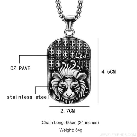 Image of Titanium Stainless Steel Zodiac Signs Amulet Pendants Necklaces - Leo - Custom Made | Free Shipping