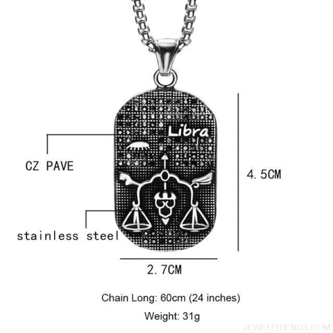 Image of Titanium Stainless Steel Zodiac Signs Amulet Pendants Necklaces - Libra - Custom Made | Free Shipping