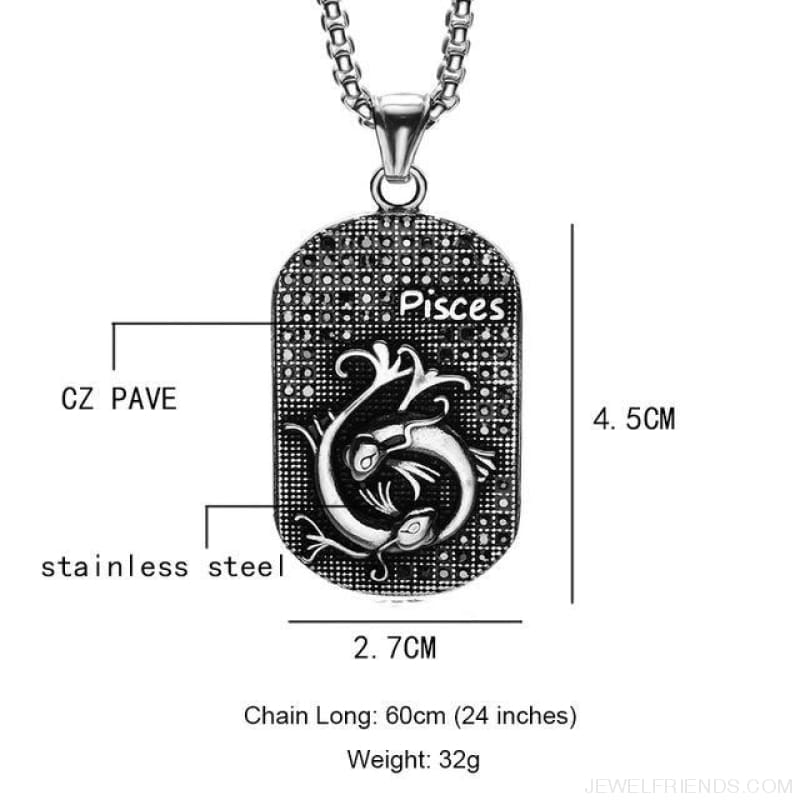 Titanium Stainless Steel Zodiac Signs Amulet Pendants Necklaces