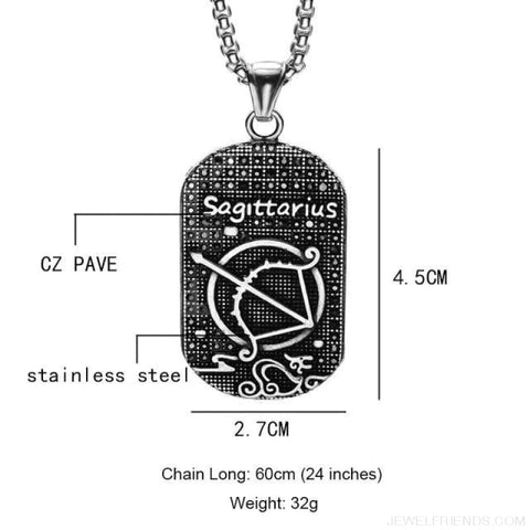 Image of Titanium Stainless Steel Zodiac Signs Amulet Pendants Necklaces - Sagittarius - Custom Made | Free Shipping