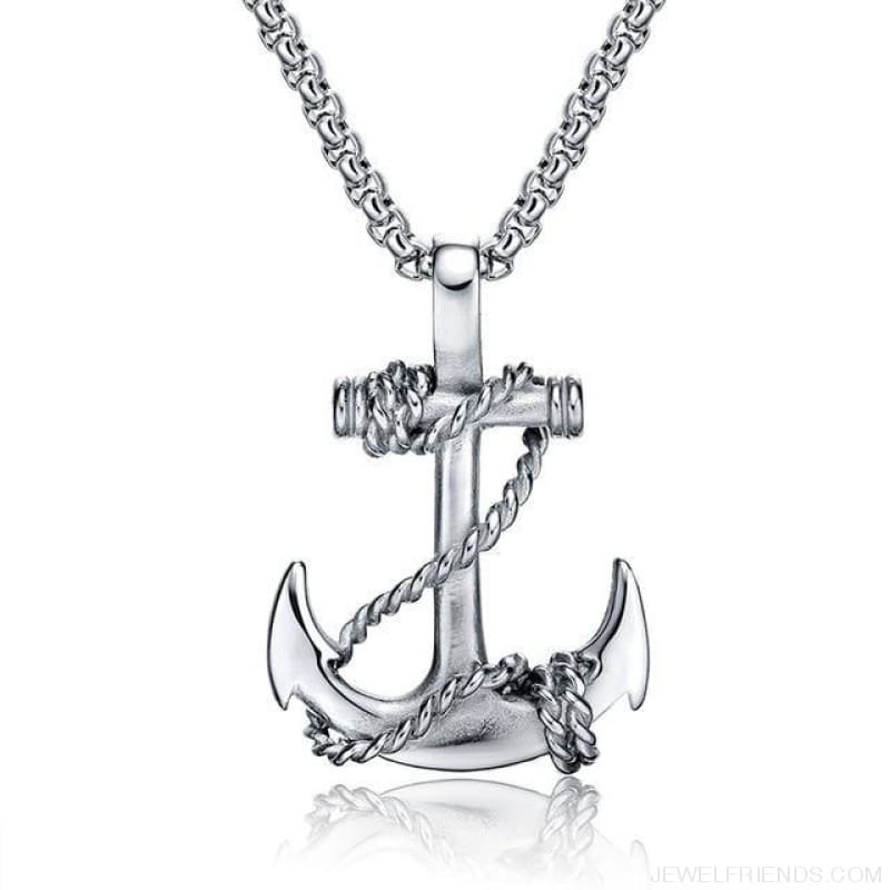 Titanium Steel Chain Anchor Necklaces - Silver - Custom Made | Free Shipping