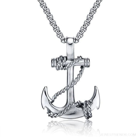 Image of Titanium Steel Chain Anchor Necklaces - Silver - Custom Made | Free Shipping