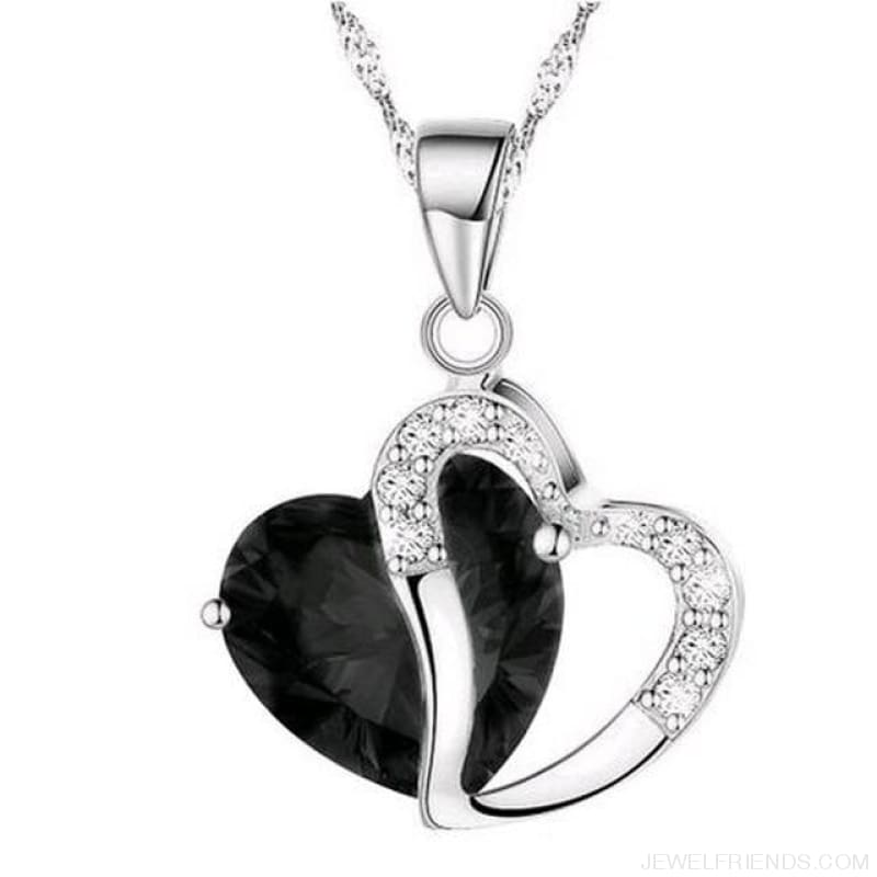 Top Class Crystal Double Heart Pendant Necklace - Black - Custom Made | Free Shipping
