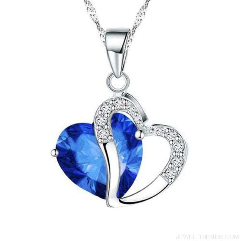 Top Class Crystal Double Heart Pendant Necklace - Blue - Custom Made | Free Shipping