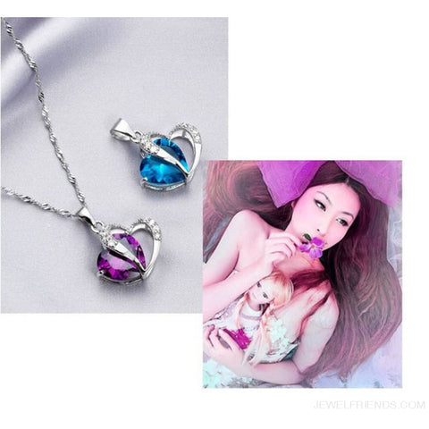 Image of Top Class Crystal Double Heart Pendant Necklace - Custom Made | Free Shipping
