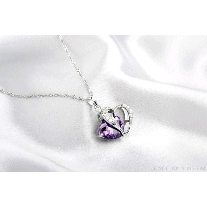 Top Class Crystal Double Heart Pendant Necklace - Custom Made | Free Shipping