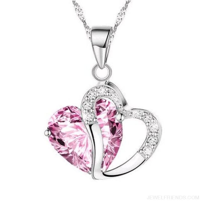 Top Class Crystal Double Heart Pendant Necklace - Pink - Custom Made | Free Shipping