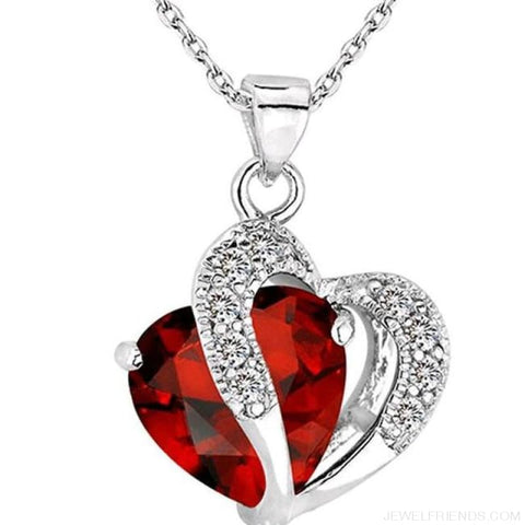 Image of Top Class Crystal Double Heart Pendant Necklace - Red - Custom Made | Free Shipping