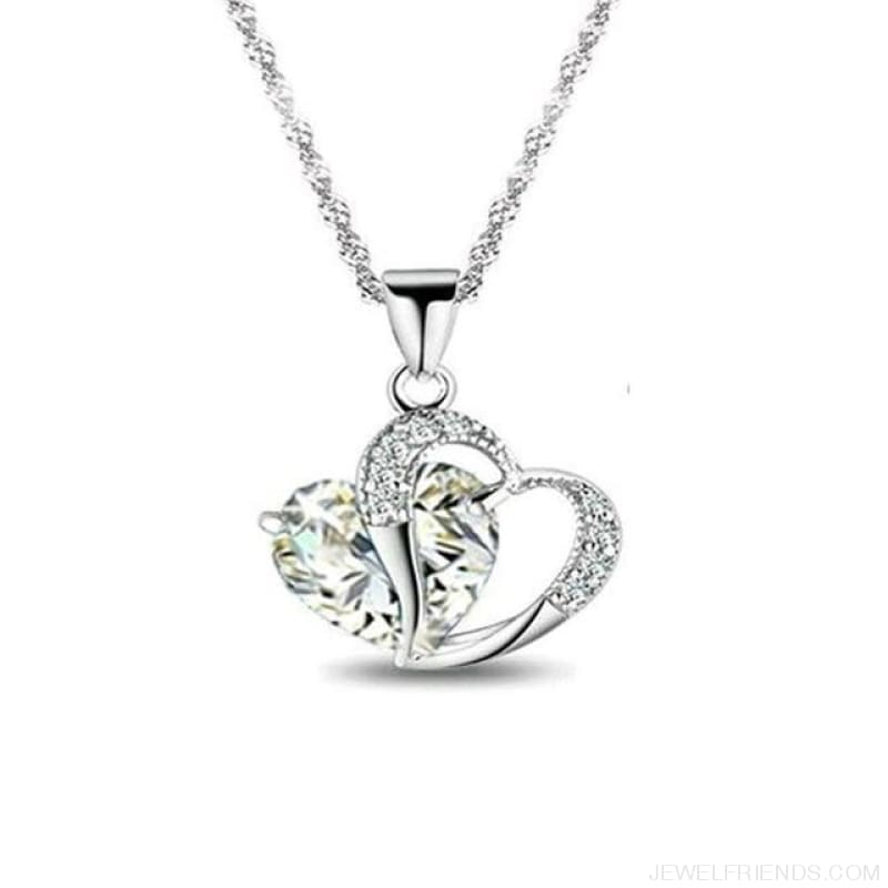 Top Class Crystal Double Heart Pendant Necklace - White - Custom Made | Free Shipping