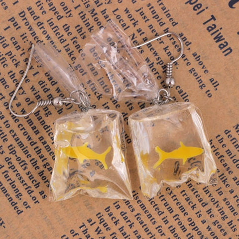 Transparent Bag Goldfish Earring - Custom Made | Free Shipping