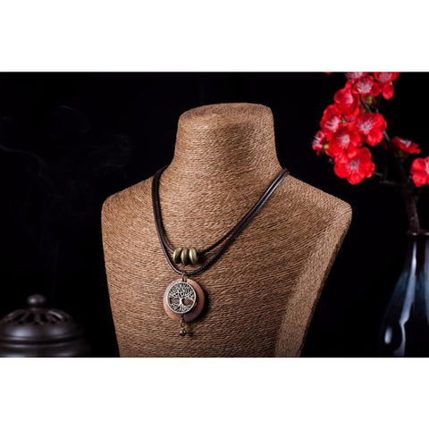 Image of Tree Design Wooden Pendant Necklace - Custom Made | Free Shipping