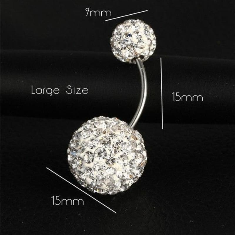 Trendy Ball White Crystal Stainless Steel Belly Button Rings - Ejla414 - Custom Made | Free Shipping