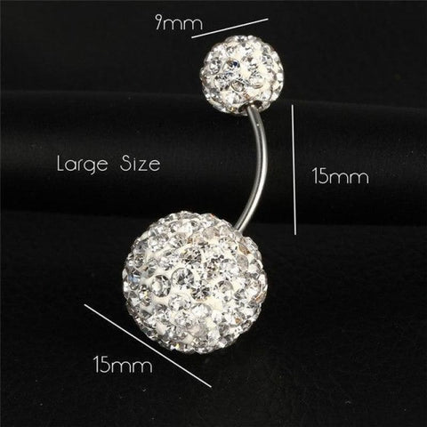 Image of Trendy Ball White Crystal Stainless Steel Belly Button Rings - Ejla414 - Custom Made | Free Shipping