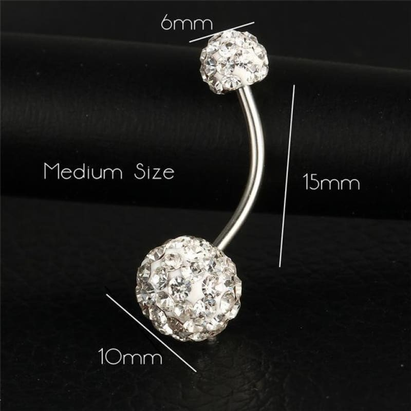 Trendy Ball White Crystal Stainless Steel Belly Button Rings - Ejla415 - Custom Made | Free Shipping