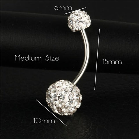 Image of Trendy Ball White Crystal Stainless Steel Belly Button Rings - Ejla415 - Custom Made | Free Shipping