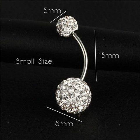 Image of Trendy Ball White Crystal Stainless Steel Belly Button Rings - Ejla416 - Custom Made | Free Shipping