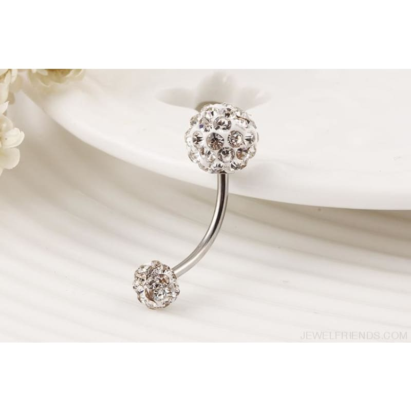 Trendy Ball White Crystal Stainless Steel Belly Button Rings - Custom Made | Free Shipping