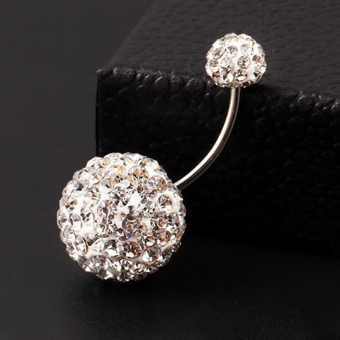 Image of Trendy Ball White Crystal Stainless Steel Belly Button Rings - Custom Made | Free Shipping