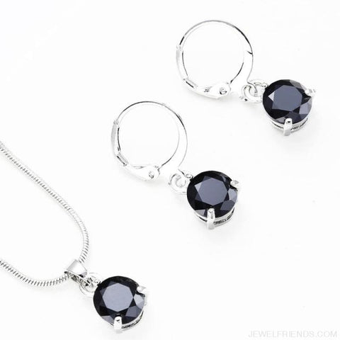 Image of Trendy Simple Multicolor Cubic Zirconia Jewelry Sets - Black - Custom Made | Free Shipping