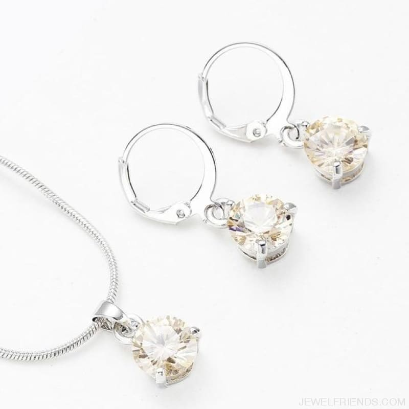 Trendy Simple Multicolor Cubic Zirconia Jewelry Sets - Light Yellow - Custom Made | Free Shipping