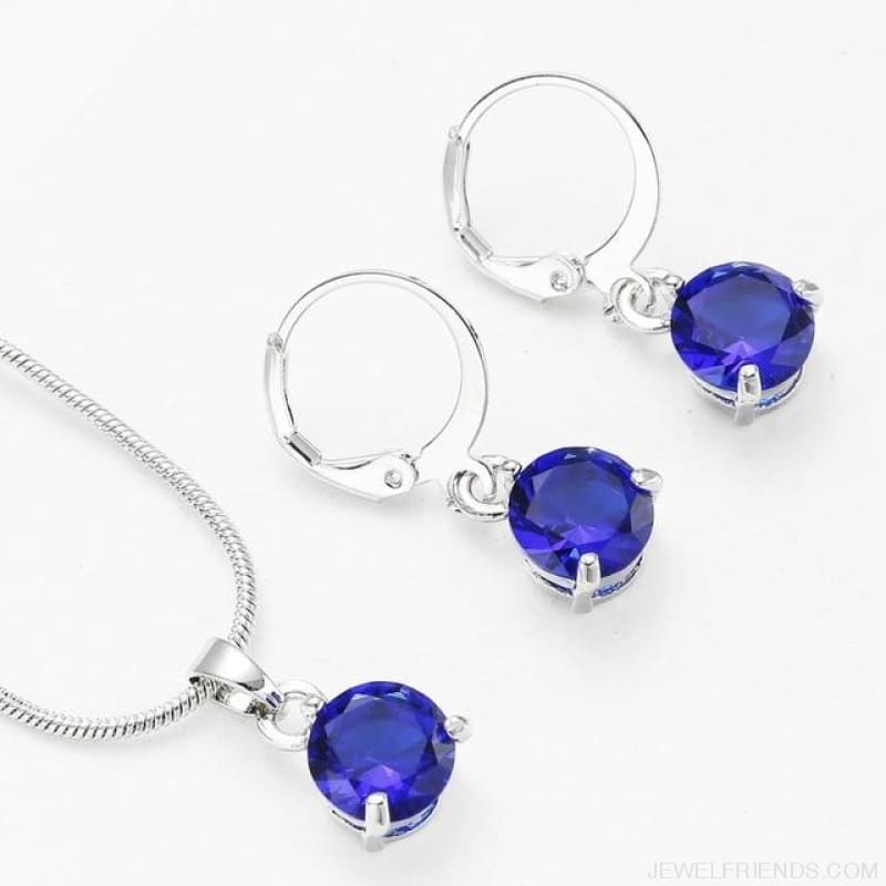 Trendy Simple Multicolor Cubic Zirconia Jewelry Sets - Navy Blue - Custom Made | Free Shipping