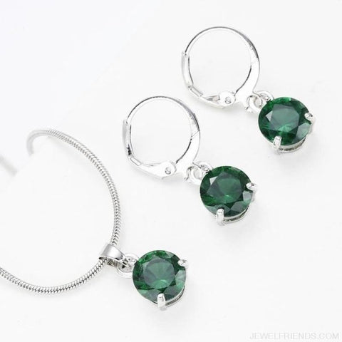 Image of Trendy Simple Multicolor Cubic Zirconia Jewelry Sets - Silver - Custom Made | Free Shipping