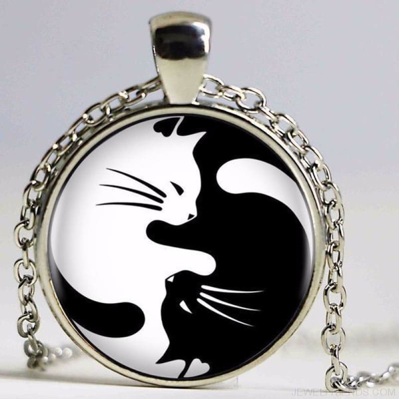 Two Cat Glass Yin Yang Necklace - 1 / 50Cm - Custom Made | Free Shipping