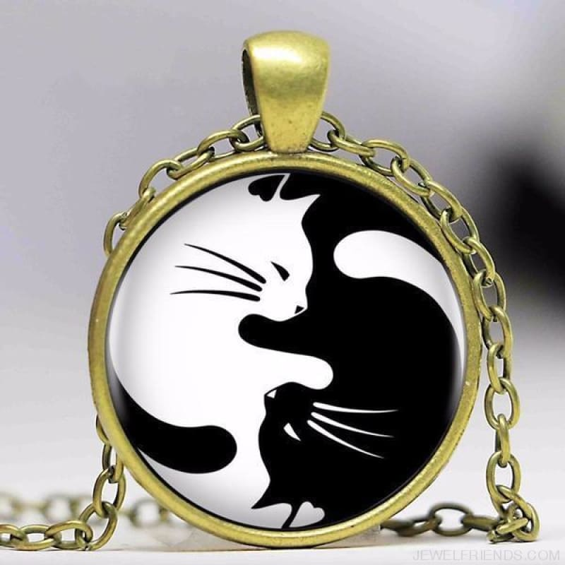Two Cat Glass Yin Yang Necklace - 2 / 50Cm - Custom Made | Free Shipping