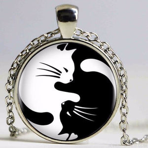 Two Cat Glass Yin Yang Necklace - Custom Made | Free Shipping