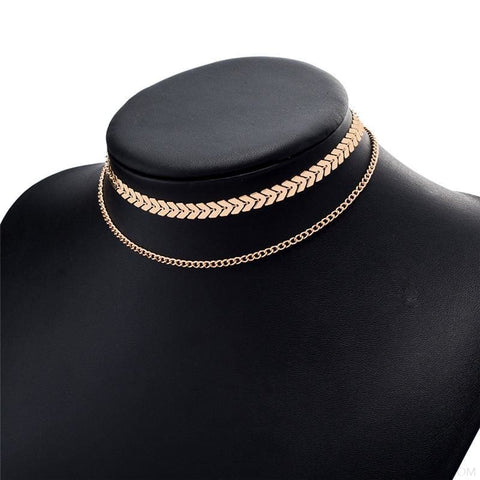 Image of Two Layers Chain & Fishbone Chocker - Gold - Custom Made | Free Shipping