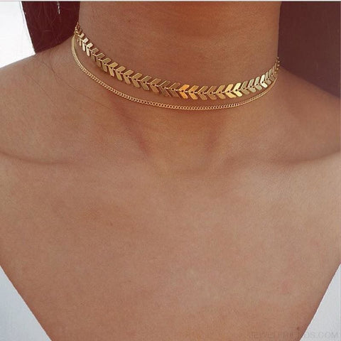 Image of Two Layers Chain & Fishbone Chocker - Custom Made | Free Shipping